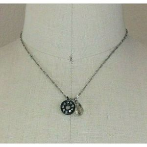 Loft Silver Necklace Donut Circle Crystal Bead